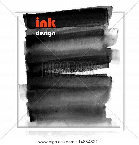Vector grunge black paint abstract background ink stain