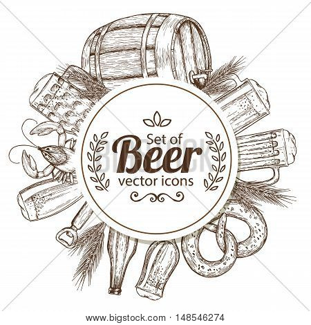 Circle shape template with sketch vintage beer icons for packaging cards posters menu. Vector stock illustration.