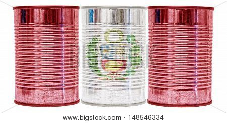 Three tin cans with the flag of Peru on them isolated on a white background.