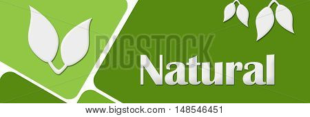 Natural concept image with text and leaves over green background.