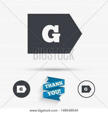 Energy efficiency class G sign icon. Energy consumption symbol. Flat icons. Buttons with icons. Thank you ribbon. Vector