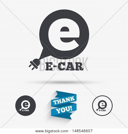 Electric car sign icon. Electric vehicle transport symbol. Speech bubble. Flat icons. Buttons with icons. Thank you ribbon. Vector