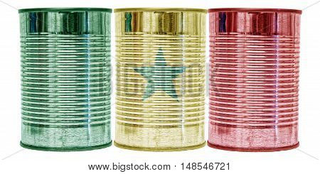 Three tin cans with the flag of Senegal on them isolated on a white background.