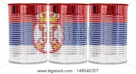 Three tin cans with the flag of Serbia on them isolated on a white background.