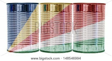 Three tin cans with the flag of Seychelles on them isolated on a white background.