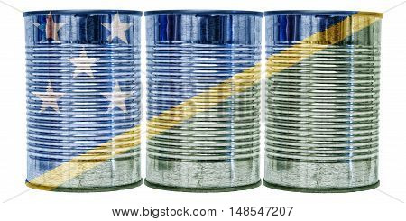 Three tin cans with the flag of Solomon Islands on them isolated on a white background.