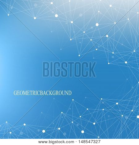 Structure molecule atom dna and communication background. Concept of neurons. Connected lines with dots. Illusion nervous system. Medical scientific backdrop. Vector illustration