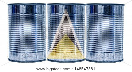 Three tin cans with the flag of St Lucia on them isolated on a white background.