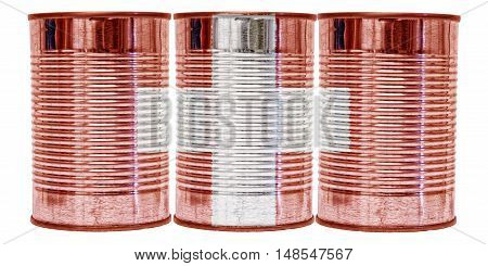 Three tin cans with the flag of Switzerland on them isolated on a white background.