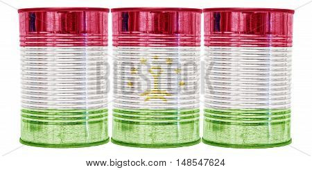 Three tin cans with the flag of Tajikistan on them isolated on a white background.
