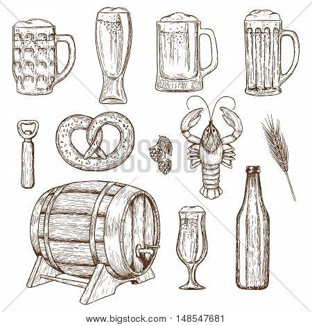 Set of beer glasses bottle and snack icons sketch vintage style. Vector stock illustration.