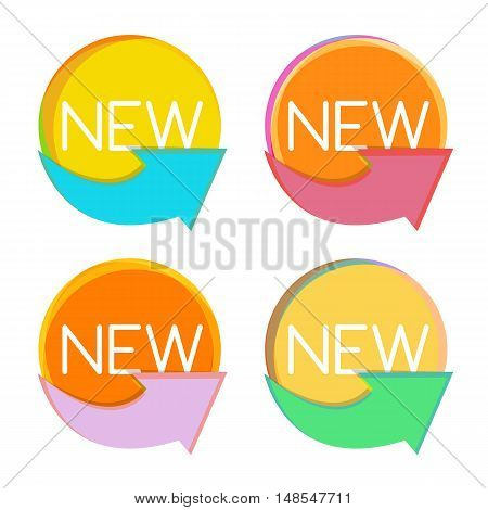 New Product Label Set in Retro Colors Vector Illustration EPS10