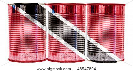 Three tin cans with the flag of Trinidad and Tobago on them isolated on a white background.