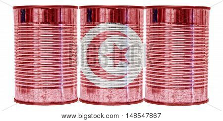 Three tin cans with the flag of Tunisia on them isolated on a white background.