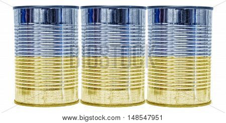 Three tin cans with the flag of Ukraine on them isolated on a white background.