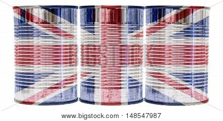 Three tin cans with the flag of United Kingdom on them isolated on a white background.