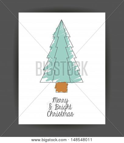 Pinetree inside frame icon. Merry Christmas season and decoration theme. Sketch and draw design. Vector illustration