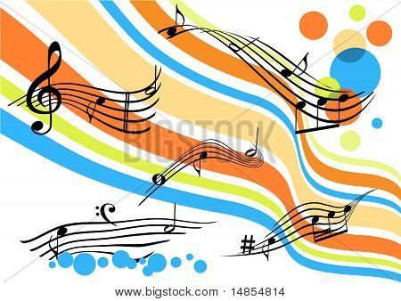 Konzeptionelle abstrakt mit kurvigen farbige Streifen und Notensysteme