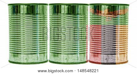 Three tin cans with the flag of Zambia on them isolated on a white background.