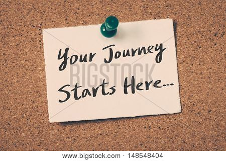 Your journey starts here. note pin on the bulletin board