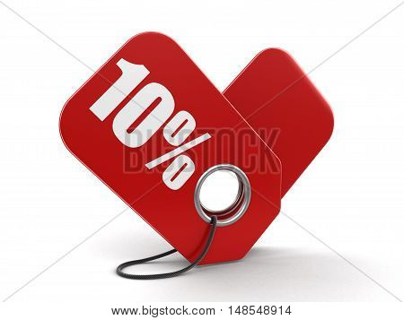 3D Illustration. Label 10%. Image with clipping path