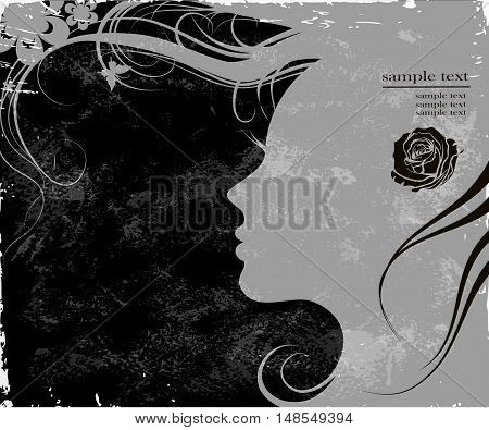 art sketches beautiful girl face in profile with floral hair, in black and white