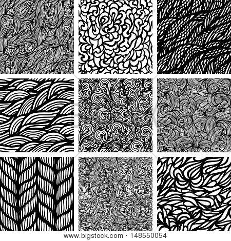Set of nine black and white wave patterns. Seamless pattern background.