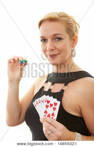 Woman Holding Royal Flush