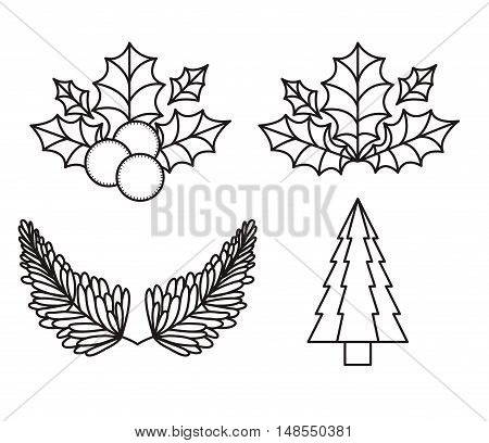 leaves and pine tree silhouettes icon. Merry Christmas season and decoration theme. Vector illustration
