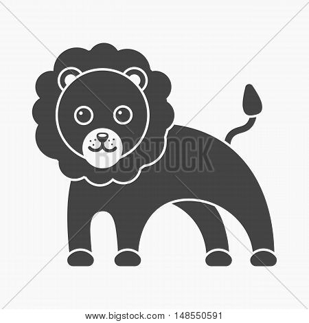 Lion black icon. Illustration for web and mobile.