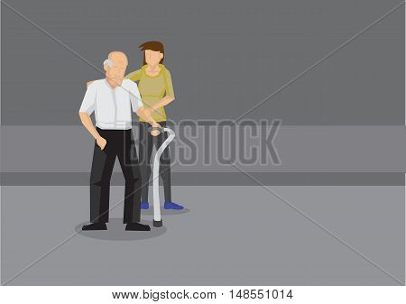 Young woman holding arm and shoulder of weak old man with a metal walking stick on the road. Cartoon vector illustration on helping elderly.