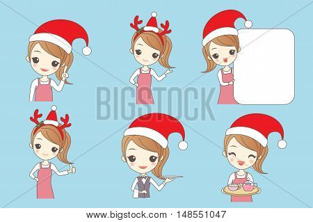 christmas cartoon beautiful young woman is a waitress
