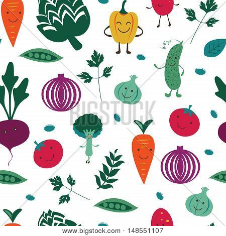A fun vegetables seamless pattern. Illustration in vector format