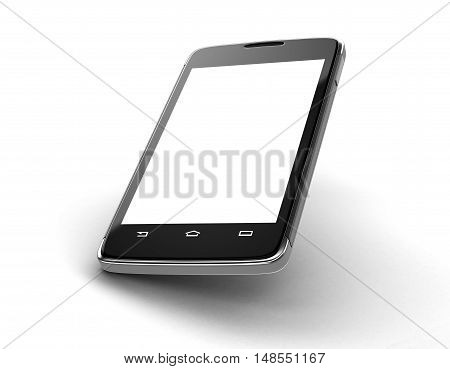 3D Illustration. Touchscreen smartphone. Image with clipping path.