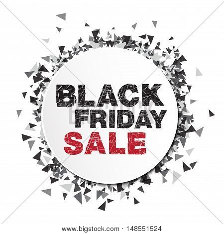 Black friday sale. Abstract explosion black glass Vector illustration