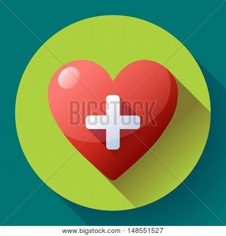 Red heart with cross. Vector health care icon, white cross in red heart.
