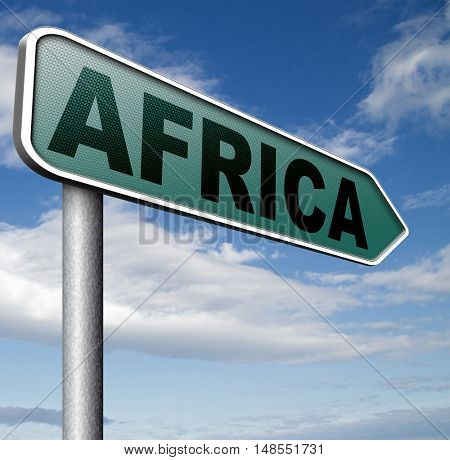 Africa continent tourism vacation and travel destination sign 3D, illustration