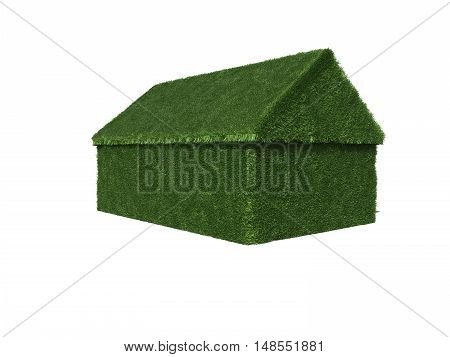 3D rendering detached house in lawn optics