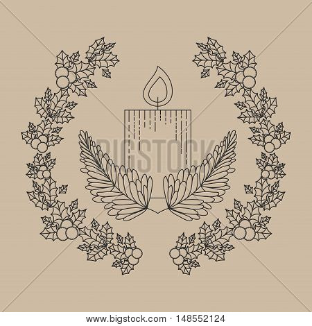 candle inside ornament and rustic leaf crown icon. Merry Christmas season and decoration theme. Vector illustration