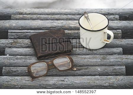 Vintage Eyeglasses And Hot Drink