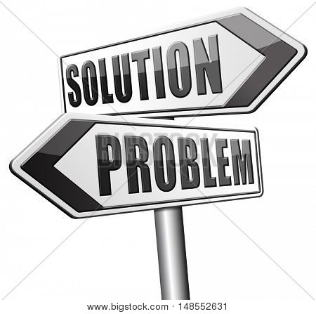 problem solution searching solutions by solving problems sign 3D, illustration