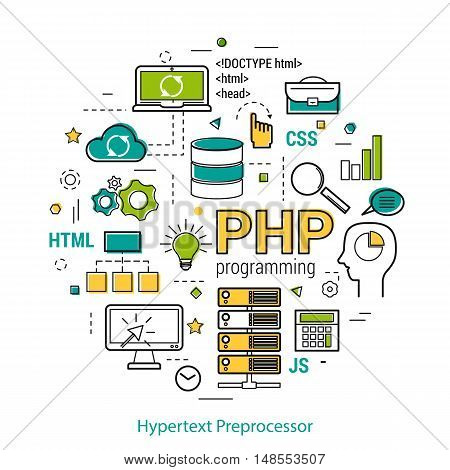Vector Line Art Concept of Hypertext Preprocessor -PHP. Round banner for web resources and programming in blue. green and yelow colors