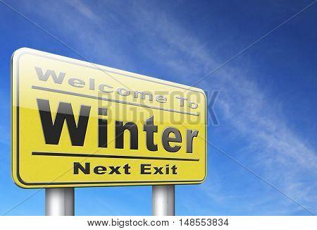 Winter season vacation holiday, road sign billboard. 3D, illustration