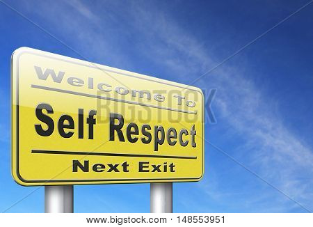 Self respect or dignity self esteem or respect confidence and pride 3D, illustration