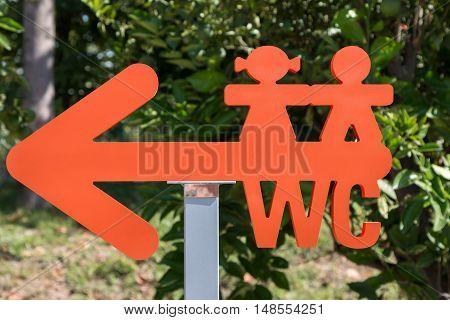 Children WC Red Arrow-shaped Sign: Restroom Symbol