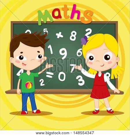 Two kids standing near blackboard. Vector illustration flat design.