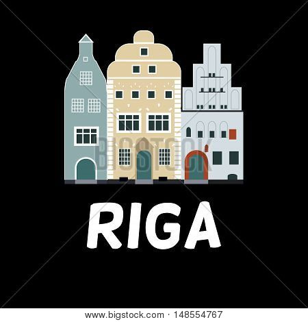 Vector flat design of famous buildings in Riga Latvia - Three Brother. Simple design for cards t-shirts booklet brochures