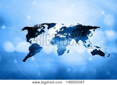 world map technology style - perfect background with space for text or image