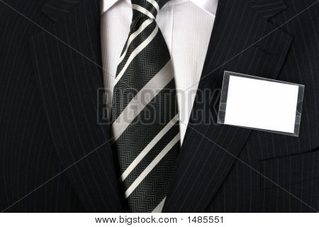 Blank Nametag On A Well Dressed Man