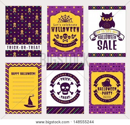 Happy Halloween! Collection of colorful banner templates. Sale party invitation trick-or-treat and greeting cards. Vector set.